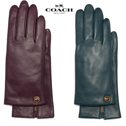 Coach Plain Leather Logo Leather & Faux Leather Gloves