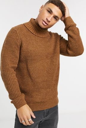 Wool Long Sleeves Plain Sweaters