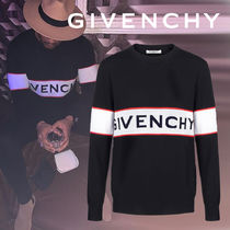 GIVENCHY Crew Neck Stripes Wool Street Style Long Sleeves Logo Luxury