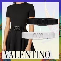 VALENTINO VLOGO Casual Style Street Style Plain Leather Party Style