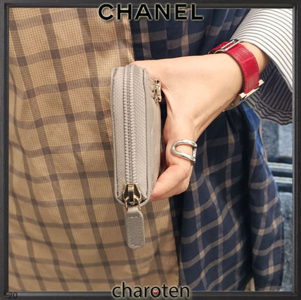 CHANEL BOY CHANEL Unisex Calfskin Plain Leather Long Wallet  Small Wallet
