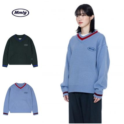 87MM Sweaters Unisex Street Style Long Sleeves Cotton Logo Sweaters