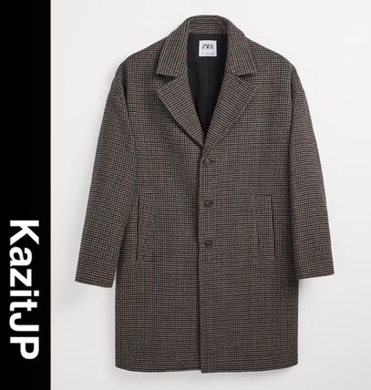 ZARA Other Plaid Patterns Wool Long Chester Coats