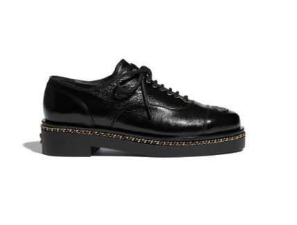CHANEL Plain Leather Logo Loafer & Moccasin Shoes