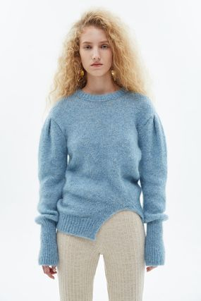 Cable Knit Casual Style Wool Nylon Blended Fabrics