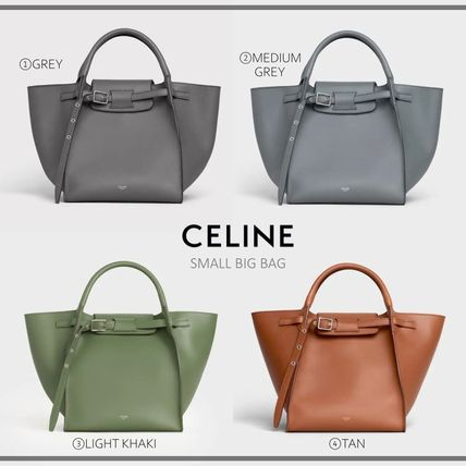 CELINE Big Bag Casual Style Calfskin 2WAY Plain Leather Office Style