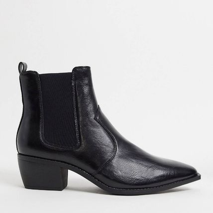 ASOS Faux Fur Blended Fabrics Street Style Plain Chelsea Boots