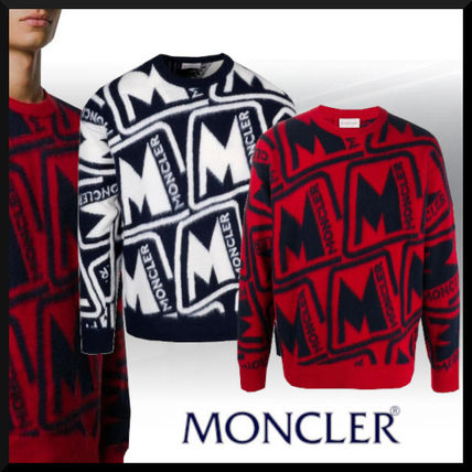 MONCLER Sweaters Wool Blended Fabrics Street Style Long Sleeves Sweaters