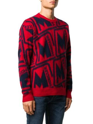 MONCLER Sweaters Wool Blended Fabrics Street Style Long Sleeves Sweaters 7