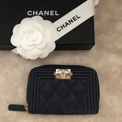 CHANEL BOY CHANEL Calfskin Long Wallet  Small Wallet Coin Cases