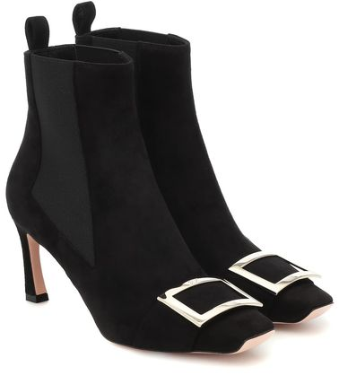 Square Toe Casual Style Suede Plain Pin Heels Elegant Style