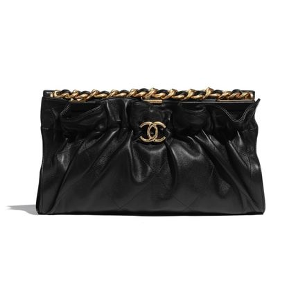 CHANEL Lambskin Chain Plain Party Style Elegant Style Formal Style