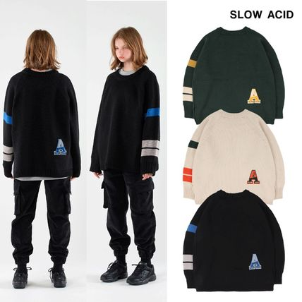 SLOW ACID Sweaters Unisex Street Style U-Neck Long Sleeves Plain Logo Sweaters