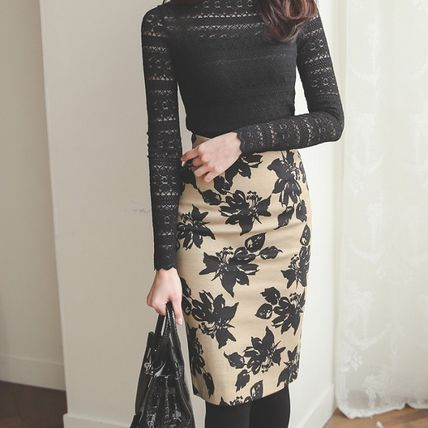 Pencil Skirts Flower Patterns Casual Style Cotton Medium