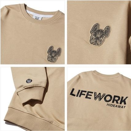 Life Work Sweatshirts Crew Neck Pullovers Unisex Street Style Long Sleeves Cotton 3