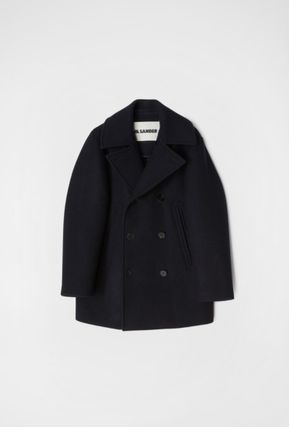 Jil Sander Short Wool Plain Peacoats