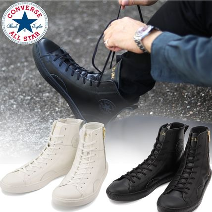 CONVERSE ALL STAR Star Unisex Street Style Plain Leather Logo Sneakers