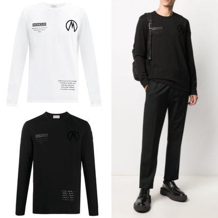 MONCLER Long Sleeves Plain Cotton Long Sleeve T-shirt Logo