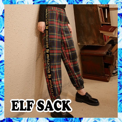 ELF SACK Printed Pants Other Plaid Patterns Casual Style