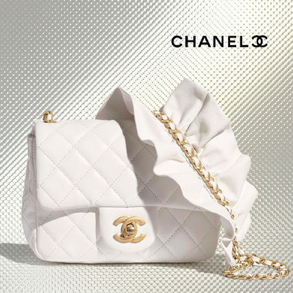 CHANEL Casual Style Chain Plain Leather Party Style Crossbody
