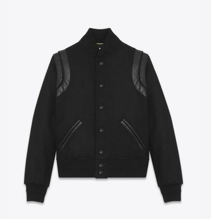 Saint Laurent Casual Style Wool Street Style Plain Leather Varsity Jackets