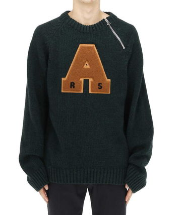 Crew Neck Pullovers Wool Blended Fabrics Street Style
