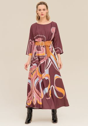 Casual Style Maxi Flared Boat Neck Long Sleeves Long
