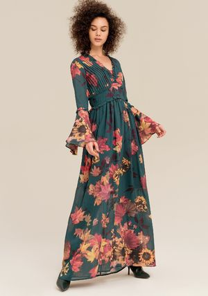 Flower Patterns Casual Style Maxi Flared V-Neck Long Sleeves