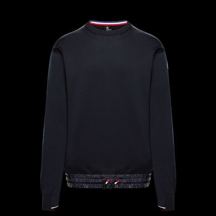 MONCLER GRENOBLE Crew Neck Long Sleeves Plain Logos on the Sleeves Sweaters