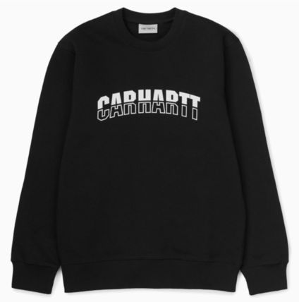 Carhartt Unisex Long Sleeves Plain Cotton Logo Sweatshirts