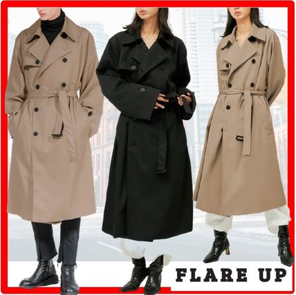 FLARE UP Trench Casual Style Unisex Street Style Trench Coats