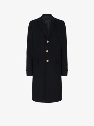 GIVENCHY Wool Cashmere Plain Long Front Button Chester Coats