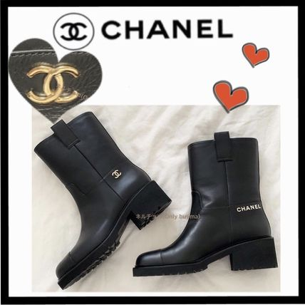 CHANEL ICON Casual Style Unisex Plain Leather Block Heels Flat Boots