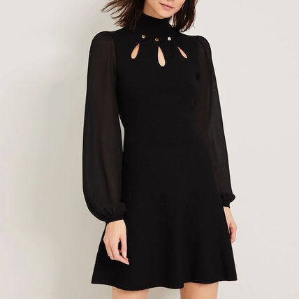 Casual Style Flared Studded Long Sleeves Plain High-Neck