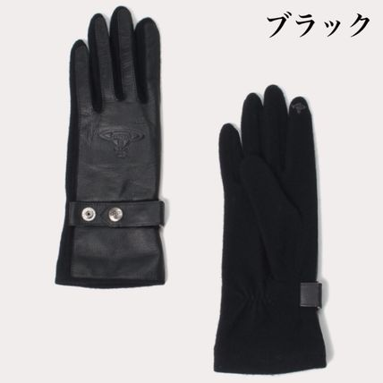 Vivienne Westwood Leather Logo Leather & Faux Leather Gloves