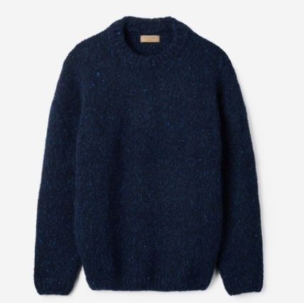 Crew Neck Pullovers Unisex Wool Tweed Blended Fabrics