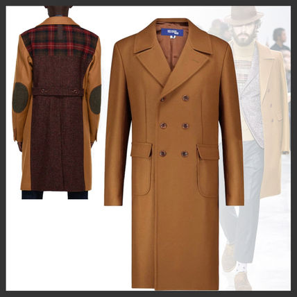 Stand Collar Coats Wool Street Style Plain Long Coats