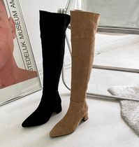 Suede Faux Fur Chunky Heels Over-the-Knee Boots