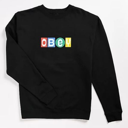 OBEY Crew Neck Pullovers Unisex Sweat Street Style Long Sleeves