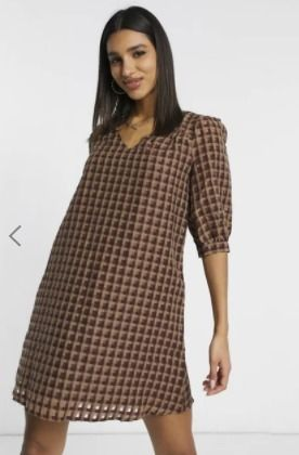 Short Other Plaid Patterns Casual Style V-Neck Puff Sleeves