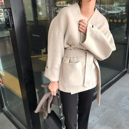 Wool Plain Medium Long Midi Khaki Wrap Coats