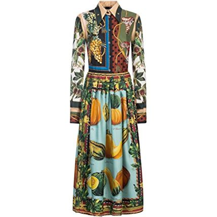 Dolce & Gabbana Silk Flared Long Sleeves Long Elegant Style Dresses