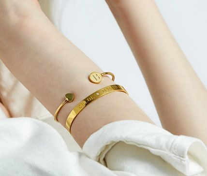 Bangles Costume Jewelry Unisex Initial Silver 14K Gold