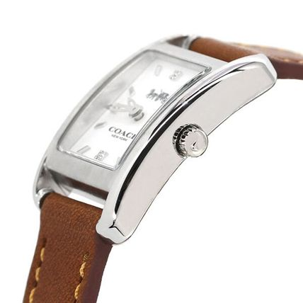 Coach Casual Style Leather Square Quartz Watches Stainless
