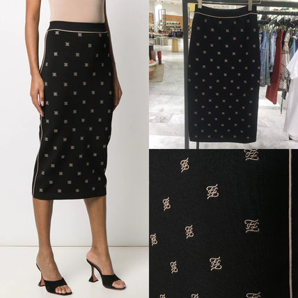 FENDI Formal Style  Logo Pencil Skirts Casual Style