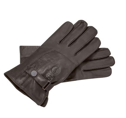 Mercedes Benz Plain Leather Logo Military Leather & Faux Leather Gloves
