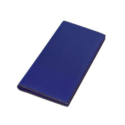 Street Style Plain Leather Folding Wallet Logo Long Wallets