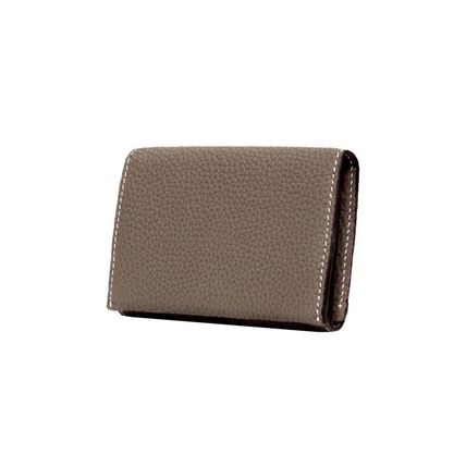 Street Style Plain Leather Logo Card Holders