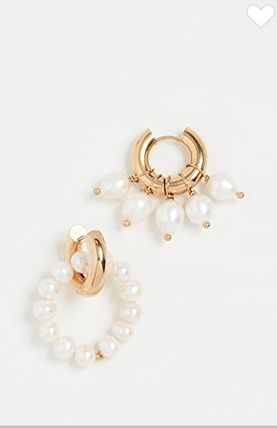 TIMELESS PEARLY Earrings Party Style Brass Elegant Style Asymmetry Earrings 2