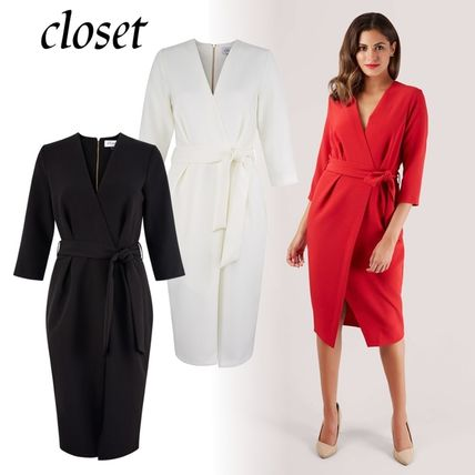 Wrap Dresses Tight V-Neck Cropped Plain Medium Party Style